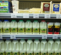 Milk and dairy products on display at Radley Village Shop