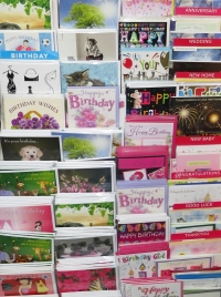 Range of greetings cards on display at Radley Village Shop