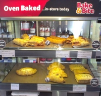 Hot bakes in display in the heated cabinet at Radley Village Shop