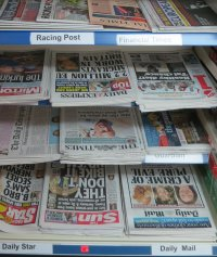 Newspapers on display at Radley Village Shop