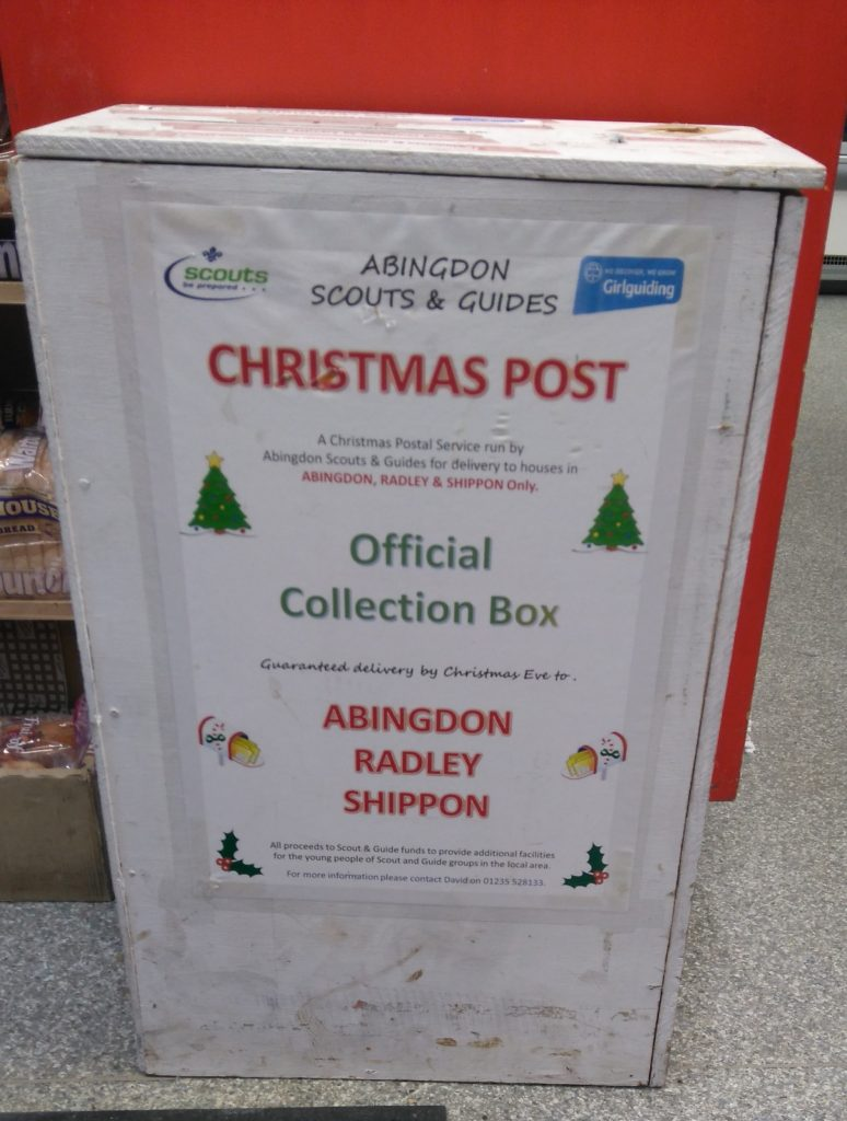 Collection box in Radley Village Shop for Abingdon Scunts & Guides Christmas Post 2019