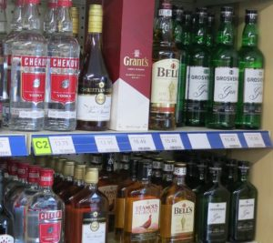 Gin, vodka, whisky and brandy on sale at Radley Village Shop