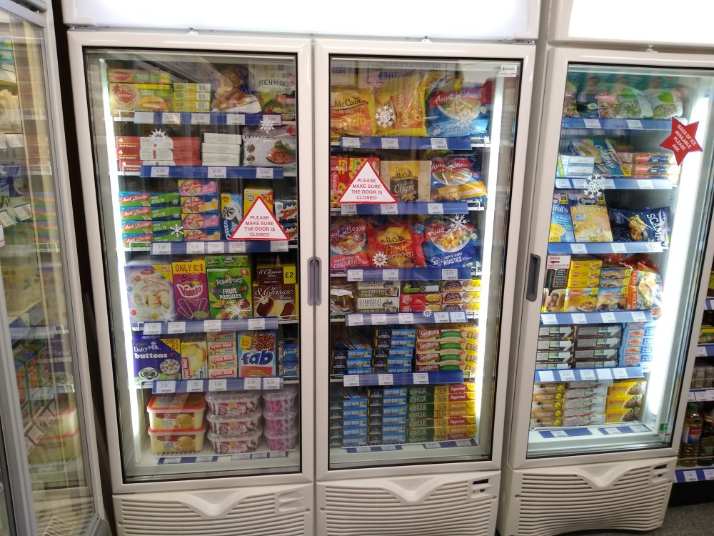 New double door freezer alongside the existing single door freezer
