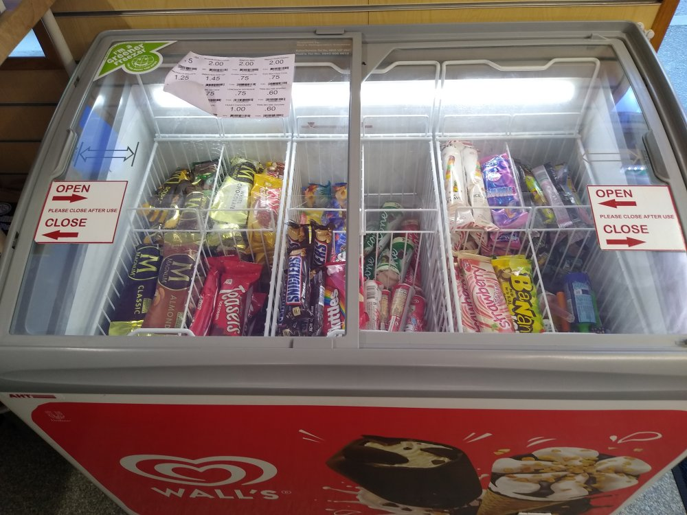 Ice-creams and lollies in stock, April 2020, in Radley Village Shop