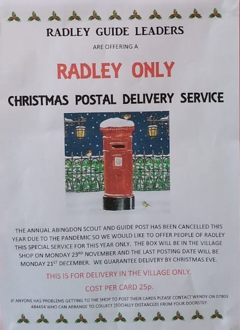 Poster advertising Radley Guides Christmas Postal Delivery Service
