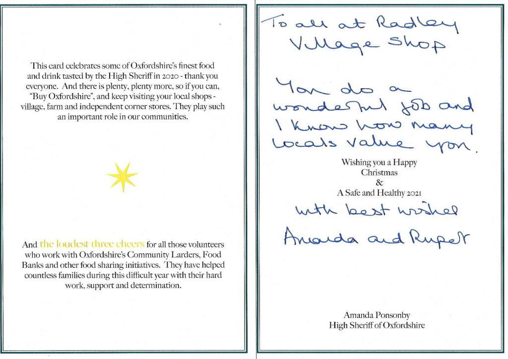 Inside of the Christmas card to the shop from the High Sheriff of Oxfordshire and her husband
