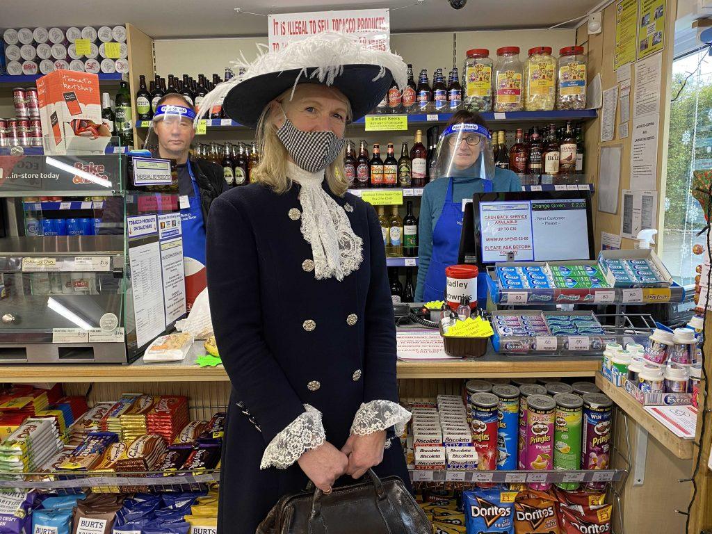 Amanda Ponsonby, High Sheriff of Oxfordshire, visiting Radley Village Shop on 4 December 2020